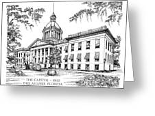 Florida Capitol 1902 Ink Greeting Card by Audrey Peaty
