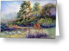 Florida Ibis Landscape Greeting Card by Denise Horne-Kaplan