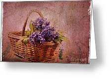 Flower Basket Greeting Card by Judi Bagwell