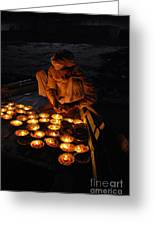Flower Ceremony On The Ganges River Greeting Card by Jen Bodendorfer