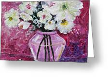 Flowers In A Magenta Room Greeting Card by Marilyn Woods