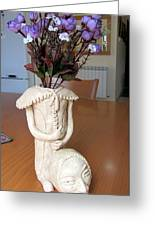 Flowers In My Head  Ceramic Vase Sculpture Of A Lady With A Removable Head Shoulder Pads Hands Face Greeting Card by Rachel Hershkovitz