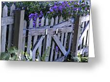 Flowers On A Fence Greeting Card by Nancy Greenland