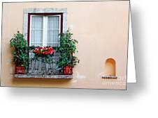 Flowery Balcony Greeting Card by Carlos Caetano
