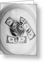Flushing Us Dollar Bills Down The Toilet Greeting Card by Joe Fox