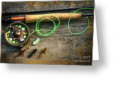 Fly fishing rod with polaroids pictures on wood Greeting Card by Sandra Cunningham