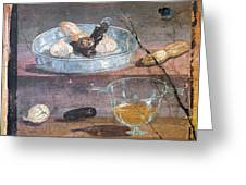 Food And Glass Dishes, Roman Fresco Greeting Card by Sheila Terry