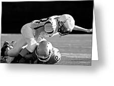 Football In Black And White Greeting Card by Susan Leggett