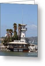 Forbes Island Restaurant With Alcatraz Island In The Background . San Francisco California . 7d14257 Greeting Card by Wingsdomain Art and Photography