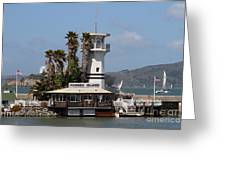 Forbes Island Restaurant With Alcatraz Island In The Background . San Francisco California . 7d14258 Greeting Card by Wingsdomain Art and Photography