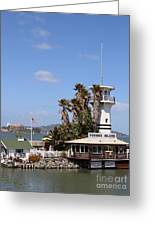 Forbes Island Restaurant With Alcatraz Island In The Background . San Francisco California . 7d14263 Greeting Card by Wingsdomain Art and Photography