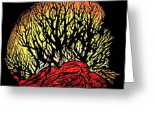 Forest Fire, Lino Print Greeting Card by Gary Hincks