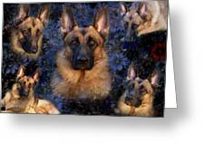 Forrest With Flowers - German Shepherd Dog Greeting Card by Angie Tirado