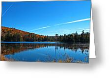 Fortune Lake And Swampland W Airplane Contrails - Fall Forestscape Reflections - The Great Outdoors Greeting Card by Chantal PhotoPix