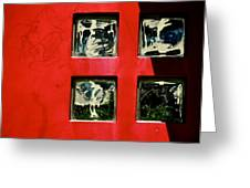 Four Squares On Red And Black Greeting Card by Odd Jeppesen