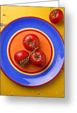 Four Tomatoes Greeting Card by Garry Gay