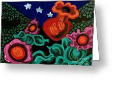 Fowers At Night Greeting Card by Genevieve Esson