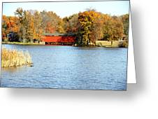 Fowler Lake And Covered Bridge Greeting Card by Franklin Conour