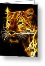 Fractal Leopard Greeting Card by Wade Aiken