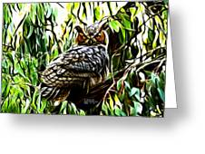 Fractal-s -great Horned Owl - 4336 Greeting Card by James Ahn