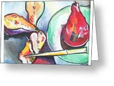 Fractured Apple Greeting Card by Sue Prideaux