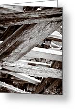Framework Kinsol Trestle Wooden Frame In Abstract Black And White Greeting Card by Andy Smy