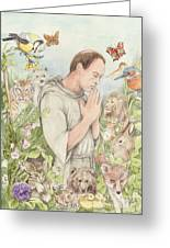 Francis Of Assisi With The Animals Greeting Card by Morgan Fitzsimons