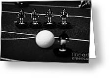 Free Kick Wall Of Players Football Soccer Scene Reinacted With Subbuteo Table Top Football  Greeting Card by Joe Fox