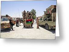 Free Libyan Army Troops Pose Greeting Card by Andrew Chittock