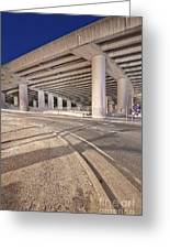 Freeway Overpass Support Structure At Night Greeting Card by Eddy Joaquim