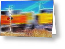 Freight Train At Railroad Crossing 2 Greeting Card by Steve Ohlsen