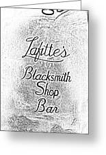 French Quarter Illuminated Lafittes Blacksmith Shop Bar Sign New Orleans Photocopy Digital Art Greeting Card by Shawn O'Brien
