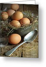 Fresh Brown Eggs In Old Tin Container With Spoon Greeting Card by Sandra Cunningham