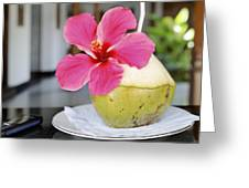 Fresh Coconut Milk Cocktail Greeting Card by Kantilal Patel