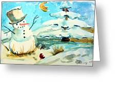 Frosty The Snow Man Greeting Card by Mindy Newman