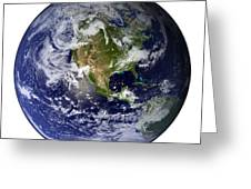 Full Earth Showing North America White Greeting Card by Stocktrek Images