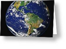 Full Earth Showing The Western Greeting Card by Stocktrek Images