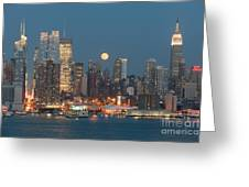 Full Moon Rising Over New York City I Greeting Card by Clarence Holmes