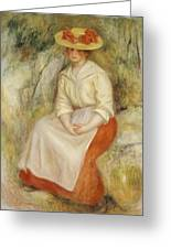 Gabrielle In A Straw Hat Greeting Card by Pierre Auguste Renoir