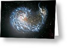 Galaxies Merging. Greeting Card by Giovanni Santostasi