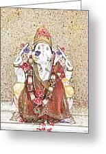 Gannesh Elephant God Greeting Card by Kantilal Patel