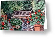 Garden Bench Sketchbook Project Down My Street Greeting Card by Irina Sztukowski