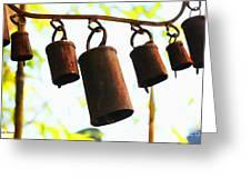 Garden Noah Bells 2 Greeting Card by Cheryl Young