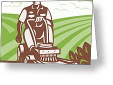 Gardener Landscaper Riding Lawn Mower Retro Greeting Card by Aloysius Patrimonio