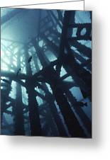 Gas Platform Support Tower Greeting Card by Peter Scoones