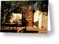 Gate To Cowboy Heaven In Old Tuscon Az Greeting Card by Susanne Van Hulst