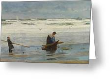 Gathering Driftwood Greeting Card by William Lionel Wyllie