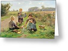 Gathering Flowers Greeting Card by Joseph Julien