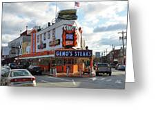 Geno's Steaks - South Philadelphia Greeting Card by Bill Cannon
