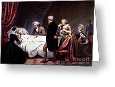 George Washington On His Death Bed Greeting Card by Photo Researchers